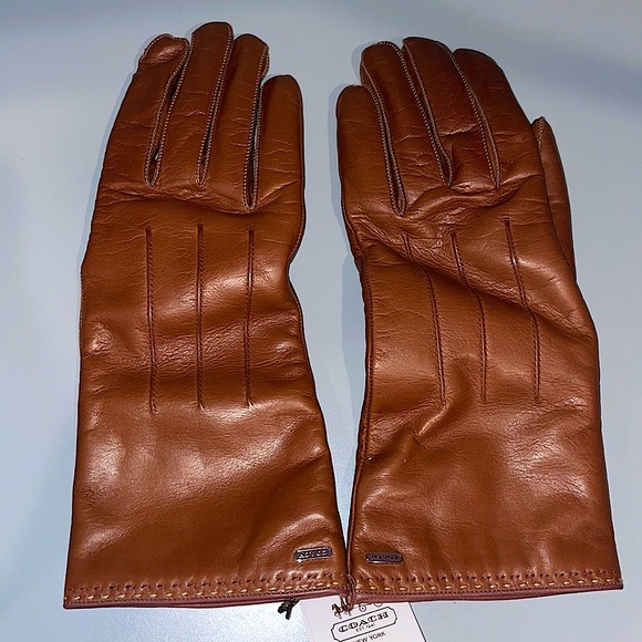 Coach Womens Basic Cashmere Lined Leather Gloves